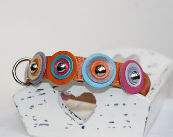 Orange Leather Dog Collar With Multicolored Circles