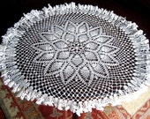 DOILY Large Unique CROCHETED LACE Cotton Crochet Bone White Ruffled Pine Runner