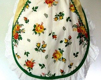 APRON Kitchen Pinafore Cook Chef Skirt Cover Vintage Yellows Round Cut Eyelet