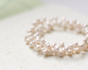 White Pearl Bracelet Choker Sterling Silver Bridal Wedding Modern Minimalist jewelry neutral ivory