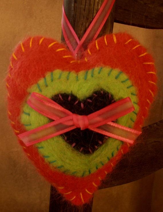 Needle Felted Heart Sachet