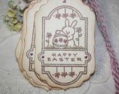 Easter Gift Tags -  Bunny with Eggs and Flowers - Happy Easter