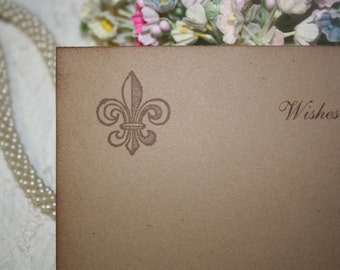 Wedding Wish Cards - Fleur de Lis - Wishes for Bride and Groom - Kraft Brown - Set of 25