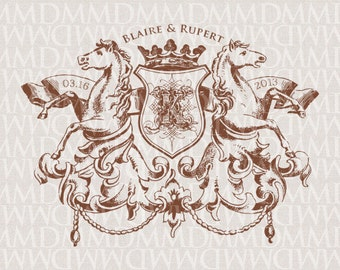 Wild Horses Heraldry Custom Wedding Monogram - Wedding Logo - Wedding Crest