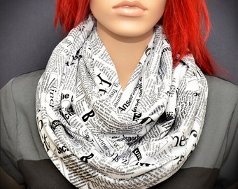 Infinity scarf with Black & White newspaper print