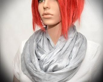 Silver Gray Silk scarf - Infinity scarf