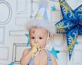 Light Blue Boys Birthday Hat...First Birthday Hat...Second Birthday Hat...Light Blue White and Yellow