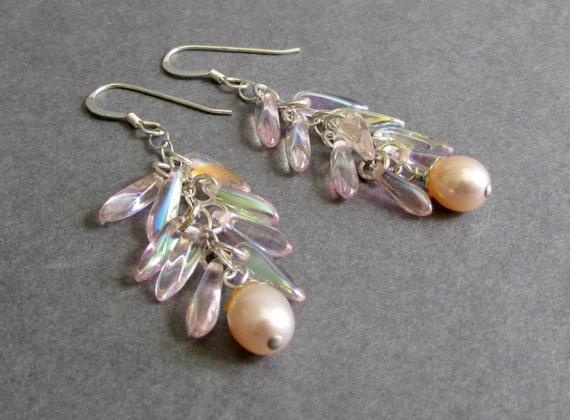 Light Pink Glass Earrings / Pink Freshwater Pearl Earrings / Sterling Silver Linear Dangle Earrings - Glimmer