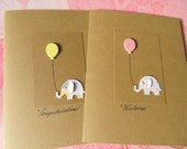 Baby Shower Cards - Baby Shower Thank You Cards - Baby Shower Invitations - Welcome Baby cards - Balloon Cards - Kraft Baby Cards  BECD1