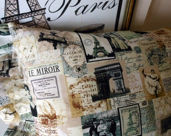 Adore Paris with this Super French Pillow with Vintage French Images Eiffel Tower
