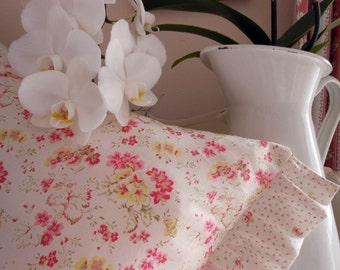 Shabby Chic Style pillow with Two Sides Pink Roses and Flowers Ruffles abound