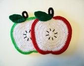 Apple Pot Holders Red Green Crochet Sliced Fruit PotHolders Hot pad Trivet Kitchen Decor Housewarming Gift Kitchen
