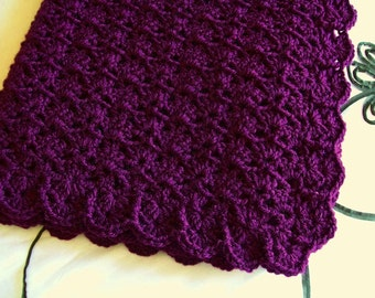 Purple Baby Blanket Afghan Amethyst Crochet Crib Stroller Car Seat Blanket Photo Prop shower gift