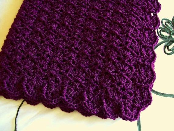 Crochet Baby Blanket Afghan Dark Purple Deep By Littledarlynns