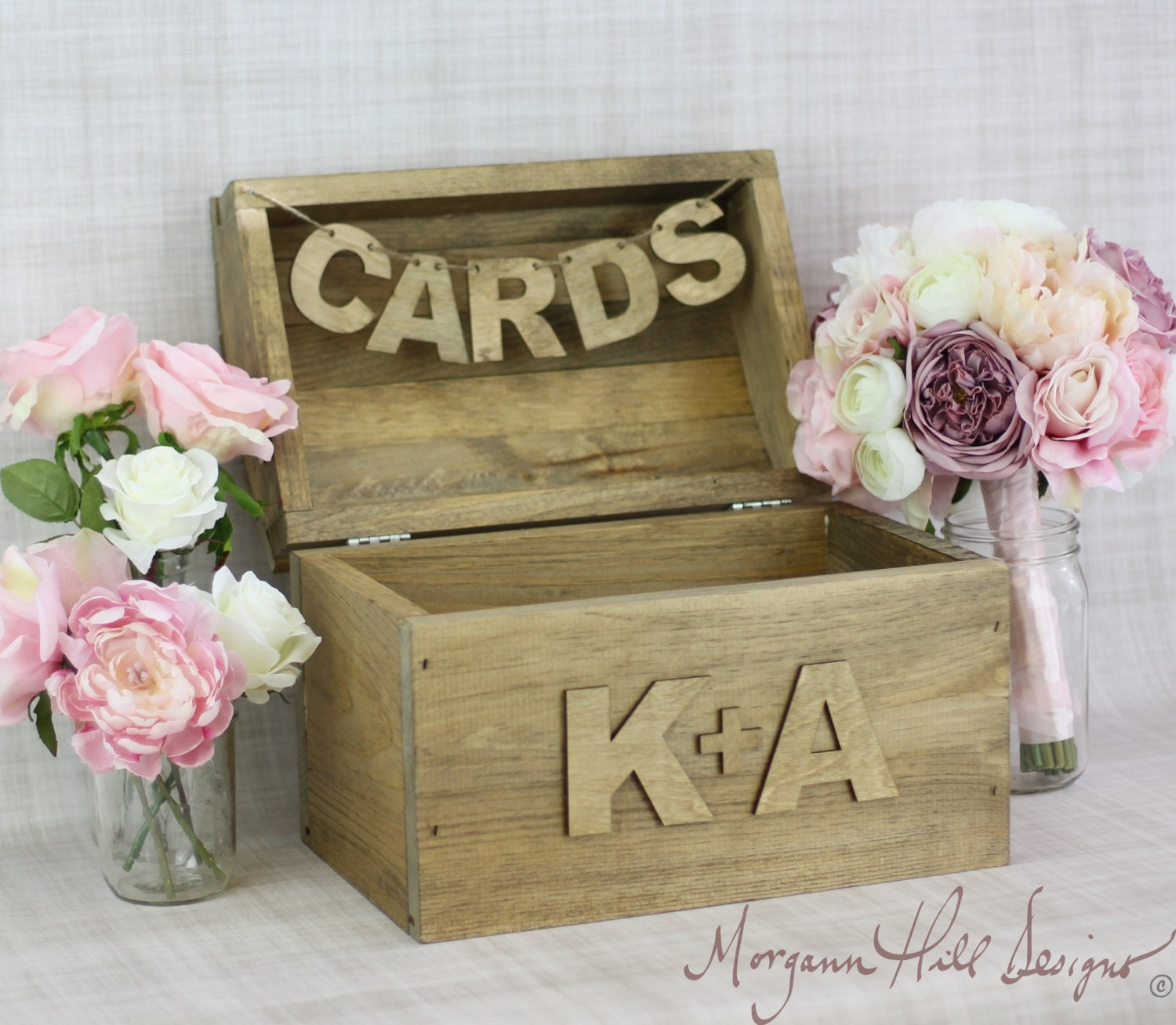 Card Box For Wedding: Personalized Rustic Card Box Country Wedding Barn By
