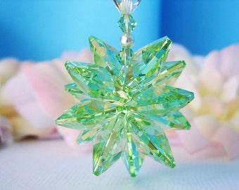 Rearview Mirror Charm Swarovski Crystal Suncatcher Green Car Accessories