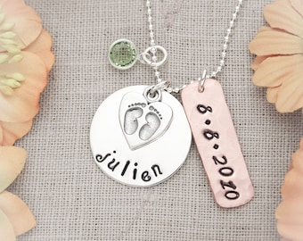 Personalized New Mommy Sterling Silver and Copper Necklace Hand Stamped Jewelry