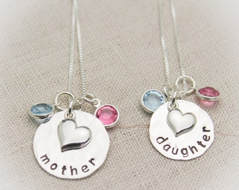Mother Daughter Personalized Necklace Round with Heart Charm Set with Birthstones  Sterling Silver Hand Stamped Jewelry