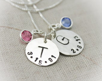 Mother or Grandmother Charm Necklace with Birthstones with Initial and Birthdate Personalized Hand Stamped Jewelry
