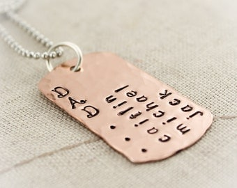 Father's Day Dad Necklace Copper Dog Tag with Stainless Steel Chain Hand Stamped Personalized