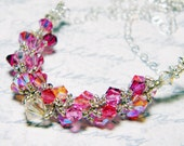 "Firefly inspired Pink and Gold Swarovski Crystal Necklace Beadweaving -  ""Heart of Gold"""