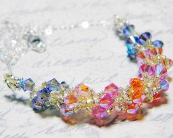 "Sunset inspired Swarovski Crystal Necklace Tanzanite 2X AB Rose Peach 2X AB Beadweaving -  ""Wendi's New Mexico Sky"""