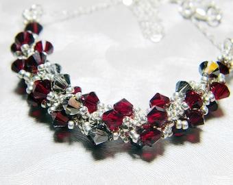 "Supernatural Ruby Inspired Swarovski Crystal Necklace Beadweaving Sterling Silver -  ""Demon's Knife"""