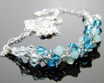 "Sea Blue Swarovski Necklace Light Azore Pacific Opal Caribbean Opal 2X AB Beadweaving Sterling Silver - ""Poet Seas"""