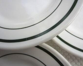 Vintage Anchor Hocking Saratoga Pattern Green Band on White Plates Restaurant Ware