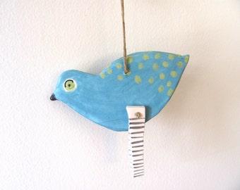 BluE    BiRd---------- Ceramic Marionette