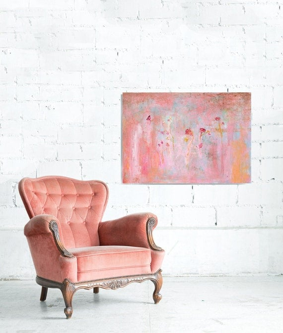 Abstract Painting Still Life. For bedrooms of romantic women Textured 26x36 shabby chic turquoise blue yellow ocher pink, fuchsia