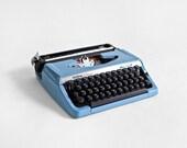 Vintage Typewriter - Mid Century, Modern, Blue, Retro