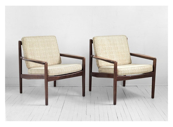 Vintage Eugen Schmidt Soloform Lounge Chairs - Mid Century, Modern, Eames, Side, Wood, Retro