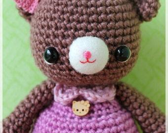 PDF Crochet Pattern - Latte (only girl bear)