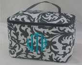 Personalized Cosmetic Case Grey and White Floral