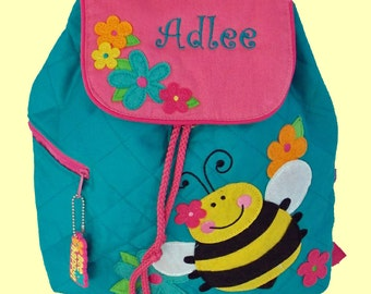Personalized Stephen Joseph BEE Backpack in Teal and Hot Pink-Monogramming Included