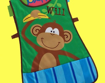 Personalized Child's Stephen Joseph Art Smock-Craft Apron MONKEY Themed-Monogramming Included