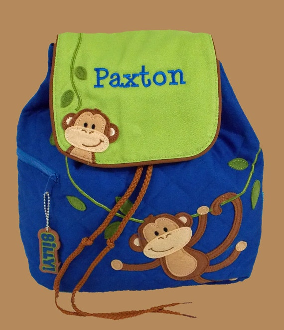 Personalized Stephen Joseph MONKEY Backpack In Blue and Lime Green Trimmed In Brown