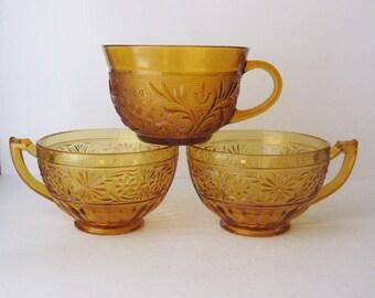 Amber Glass Teacups