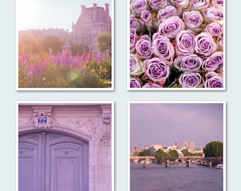 Paris Photography Set - Roses, The Louvre, The Seine, Four Fine Art Photographs, Large Wall Art,  Lavender Wall Decor