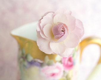 Flower Still Life Photography - Rosebud, Roses, Floral Still Life Photo, Romantic Pink Wall Decor