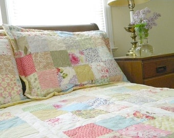 Shabby Chic bedding, matching pillow shams, Custom queen size patchwork blanket, 92 X 92 Romantic English florals, warm cotton bed set