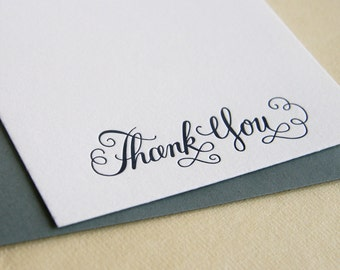 SALE - Letterpress Stationery Set - Thank You cards in Calligraphy - 10 cards