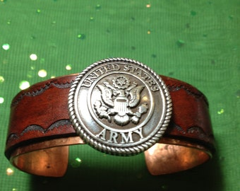 Made To Fit You Silver US Army Concho Leather and Copper Cuff Bracelet. Free shipping to US locations, reduced rates to all other countries.
