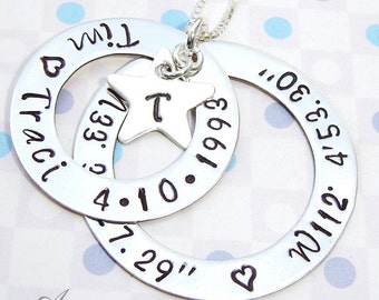 Longitude and Latitude Handstamped necklace - Personalized stamped charm necklace