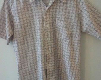 70s disco cowboy shirt seventies polyester lasso western print pattern medium
