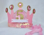 Sparkly Pink and Gold Ballet Princess Party Hat Birthday Crown with tulle accents and pink ribbon
