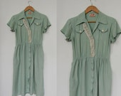 Mint Julep Forties Dress / Crochet and Cotton Dress
