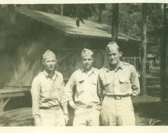 Feb 1945 Happy Army Soldiers At Camp in Uniform 1940s WW2 Vintage Black and White Photo Photograph