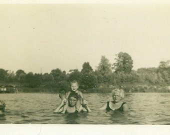 Summer Fun Swimming Big Brother Baby Grandma Standing in Water Vintage Black White Vintage Photo Photograph
